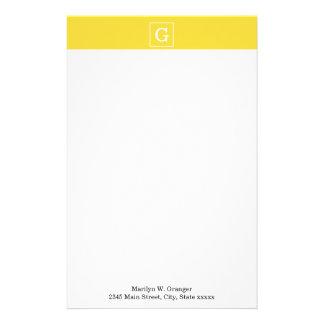 Pineapple Yellow White Framed Initial Monogram Customised Stationery