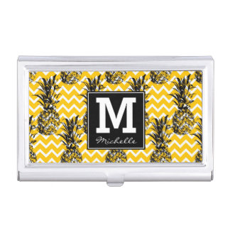 Pineapple Zigzags | Monogram Business Card Holder