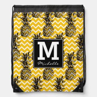 Pineapple Zigzags | Monogram Drawstring Bag