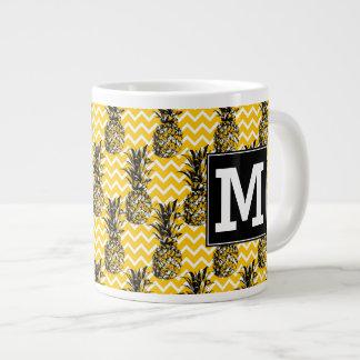 Pineapple Zigzags | Monogram Large Coffee Mug