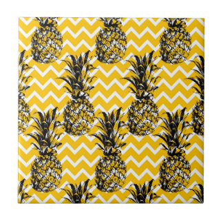 Pineapple Zigzags Small Square Tile