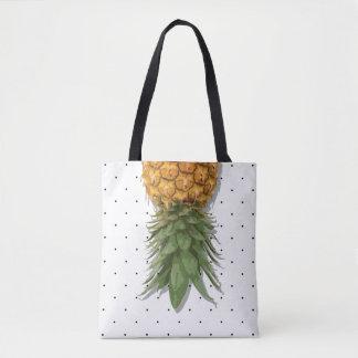 Pineapples and Micro Polka Dots Tote Bag