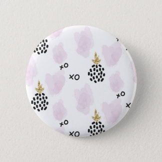Pineapples and pink leopard print. XOXO 6 Cm Round Badge