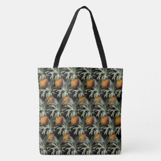 Pineapples Black Background Tote Bag