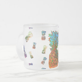 Pineapples Frosted Glass Coffee Mug