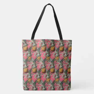 Pineapples Indian Pink Background Tote Bag