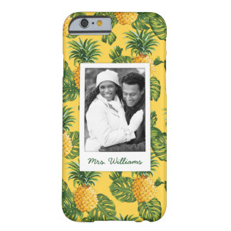 Pineapples & Leaves | Add Your Photo & Name Barely There iPhone 6 Case