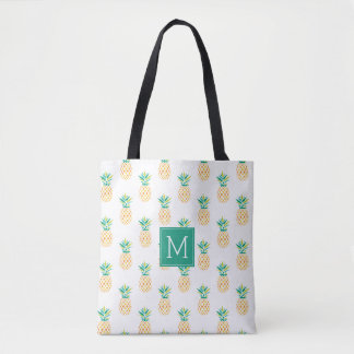 Pineapples Monogrammed Tote Bag