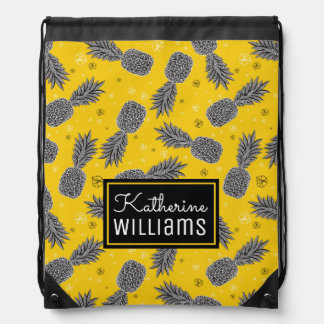 Pineapples On Gold | Add Your Name Drawstring Bag