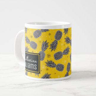 Pineapples On Gold | Add Your Name Large Coffee Mug
