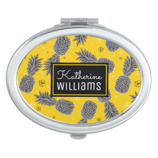 Pineapples On Gold | Add Your Name Travel Mirror
