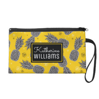 Pineapples On Gold | Add Your Name Wristlet