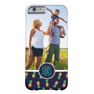 Pineapples On Navy | Add Your Photo & Monogram Barely There iPhone 6 Case