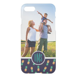 Pineapples On Navy | Add Your Photo & Monogram iPhone 7 Case