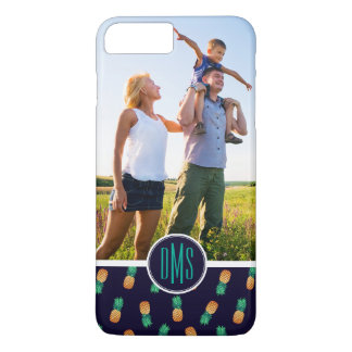 Pineapples On Navy | Add Your Photo & Monogram iPhone 7 Plus Case