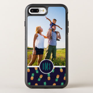 Pineapples On Navy| Add Your Photo & Monogram OtterBox Symmetry iPhone 7 Plus Case