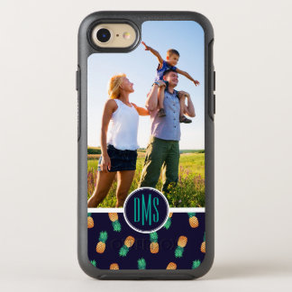 Pineapples On Navy| Add Your Photo & Monogram OtterBox Symmetry iPhone 8/7 Case