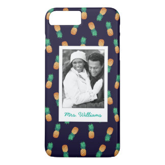 Pineapples On Navy | Add Your Photo & Name iPhone 8 Plus/7 Plus Case