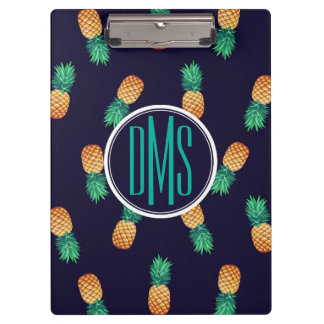 Pineapples On Navy | Monogram Clipboard