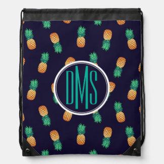 Pineapples On Navy | Monogram Drawstring Bag