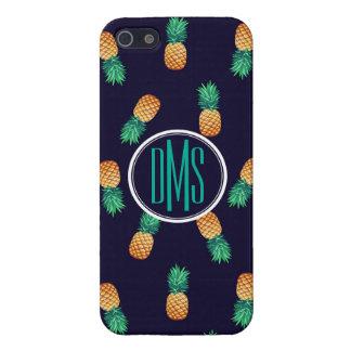 Pineapples On Navy   Monogram iPhone 5/5S Cases