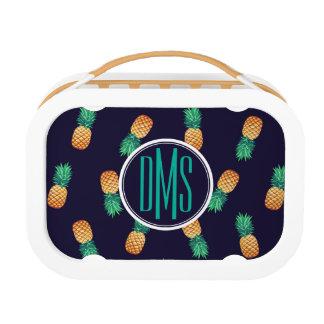 Pineapples On Navy | Monogram Lunch Box