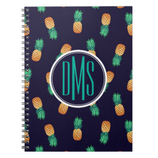 Pineapples On Navy   Monogram Notebooks