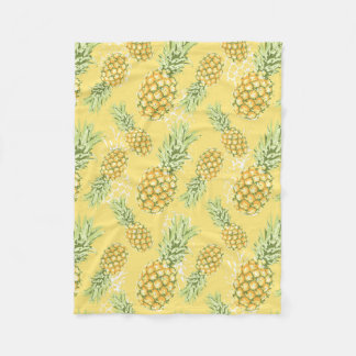 pineapples on soft yellow fleece blanket