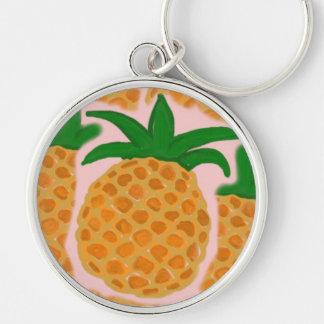 Pineapples Premium Round Keychain
