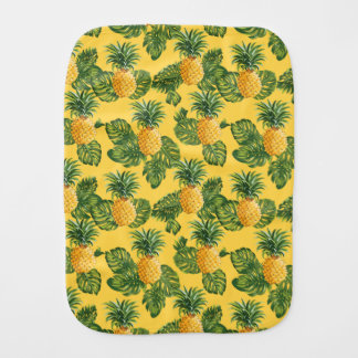 Pineapples & Tropical Leaves On Gold Baby Burp Cloths