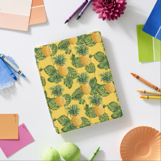 Pineapples & Tropical Leaves On Gold iPad Cover