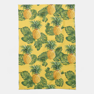 Pineapples & Tropical Leaves On Gold Tea Towel
