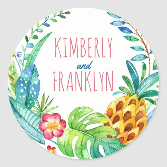pineapples tropical palms beach wedding classic round sticker