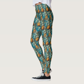 Pineapples Turquoise Caribbean Sea Blue Leggings