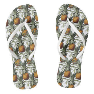 Pineapples White Background Flip Flops