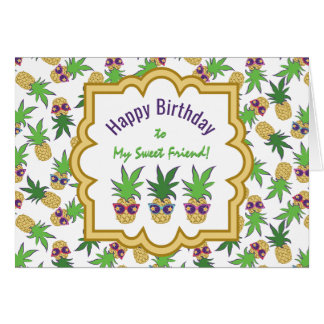 Pineapples with Sunglasses Birthday Card