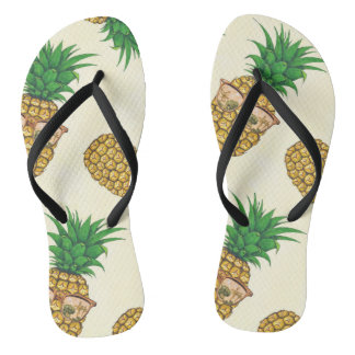 Pineapples with Sunglasses Hand Painted Flip Flops