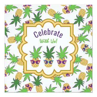 Pineapples with Sunglasses Pattern 13 Cm X 13 Cm Square Invitation Card