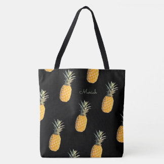 pineapples with your name on black tote bag