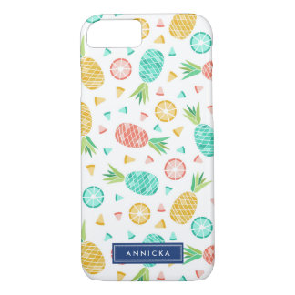 Pineapples - Yellow & Coral Pink - Custom Name iPhone 8/7 Case