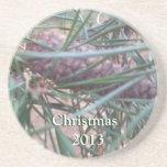 pinecone christmas 2013 sandstone coaster