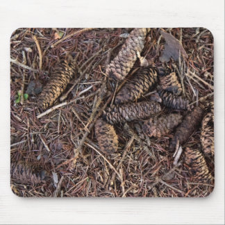 Pinecones and Pine Needles on Forest Floor Mouse Pad