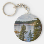 Pinecrest Lake California in August Basic Round Button Key Ring
