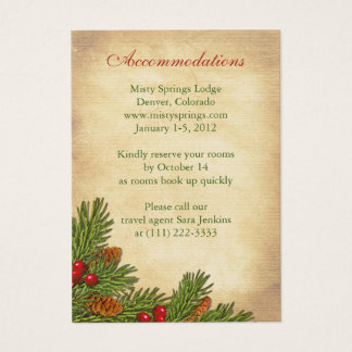 Pines Boughs Holiday Winter Wedding Insert Cards