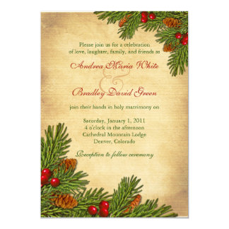 Pines Boughs Holiday Winter Wedding Invitation