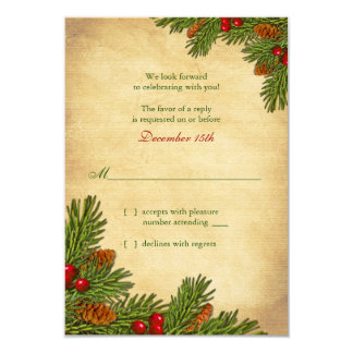 Pines Boughs Holiday Winter Wedding RSVP Card 9 Cm X 13 Cm Invitation Card