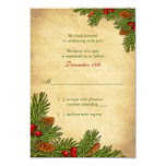 Pines Boughs Holiday Winter Wedding RSVP Card Personalised Invitations
