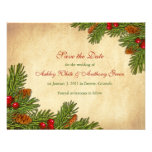 Pines Boughs Holiday Winter Wedding Save the Date Personalised Invitation