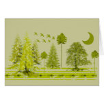 Pines with Moon-Customise Change BackGround Colour Greeting Cards