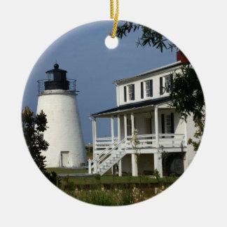 Piney Point Lighthouse Round Ceramic Decoration